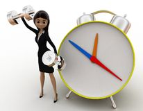 d-woman-exercise-time-clock-dumbell-concept-white-background-front-angle-view-51629748